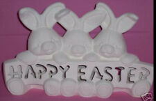 Ceramic Bisque Ready to Paint HAPPY EASTER Bunnies with Light