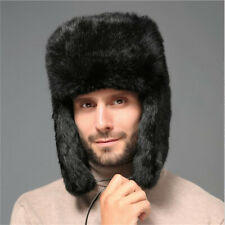 Winter Mens Bomber Hats Russian Ushanka Hats Full-pelt Rabbit Fur Skiing Hats