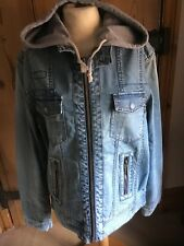 G-STAR RAW.. MENS VINTAGE HOODED DISTRESSED DENIM JACKET.. EMBROIDERED BACK.. XL