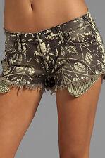 NWT Free People 27 Jean Shorts PANTS Distressed Cut Offs Shibori Black $88 RV
