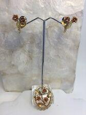 Vintage Krementz Gold Overlay Rose Pin Screwback Earring Set Rose Yellow