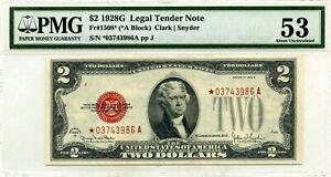 $2 1928 G LEGAL TENDER STAR NOTE  FR 1508 * LUCKY MONEY VALUE $1500