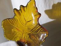 LOT OF 4  Vintage AMBER GLASS Leaf  Tea light Candle Candles HOLDERS   #9