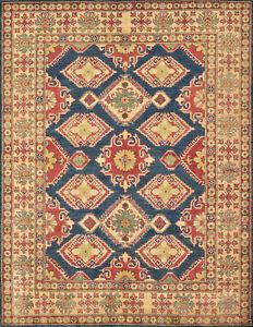 Geometric Kazak Rug, 6'x8', Blue/Beige, Hand-Knotted Wool Pile