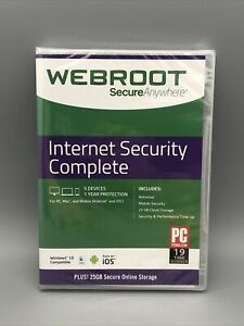 Webroot SecureAnywhere Internet Security Complete 5 Devices 1 Year New/Sealed