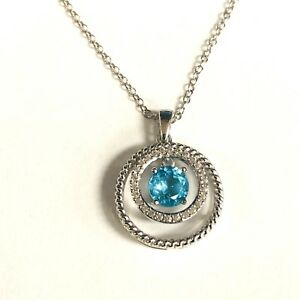 925 sterling silver created Blue & White topaz shimmer pendant necklace 3g