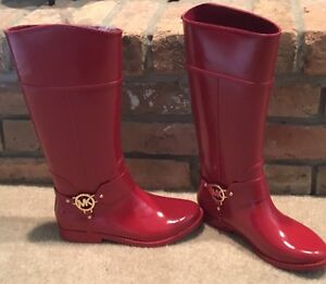MICHAEL KORS 9M FULTON HARNESS RED TALL LINED RUBBER RAINBOOT BOOT GENTLY USED