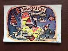 F1h postcard used stamped franked 1980 barbados island in the sun