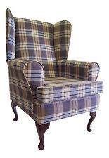 Wing Back Queen Anne Chair ChambrayTartan Fabric
