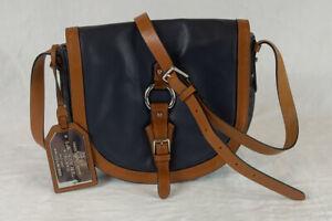 Lauren by Ralph Lauren Harbridge Saddle Bag Navy/Brown Leather Small Crossbody
