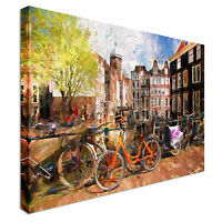 Famous Amsterdam city in Holland Canvas Art Cheap Wall Print Home Interior