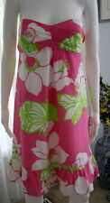 LILLY PULITZER Sz 8 Strapless Dress Pink Green White Frill at Hem EUC