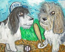 Petit Basset Griffon Vendeen Playing Baseball Art Print 8 x 10 Pbgv Collectible