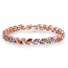 18K ROSE GOLD PLATED & GENUINE MULTI-COLOURED CUBIC ZIRCONIA TENNIS BRACELET