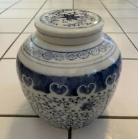 """VINTAGE CHINESE HAND PAINTED PORCELAIN GINGER JAR BLUE AND WHITE 8"""""""