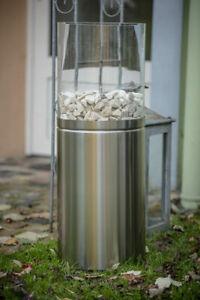 Design Edelstahl Glasfeuer Bio Ethanol Feuerstelle In & Outdoor 84cm Kamin