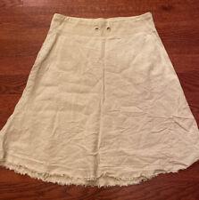 Eileen Fisher Women's Skirt Beige 100% Linen Frayed Edges Size Small S