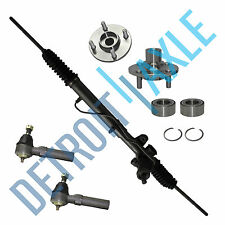 5 pc Set Steering Rack and Pinion + 2 Wheel Hub Bearing 4 Bolt + 2 Outer Tie Rod
