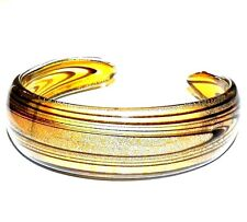 "BR369L Golden Brown Glass w Silver Foil Sparkle 7.5"" Cuff Bracelet"
