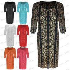 New Women's Plus Size Floral Lace Scoop Neck Party Midi Dress Knee Length 14-26