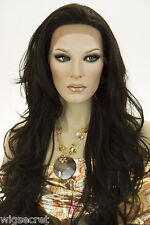 Darkest Brown Brunette Long Lace Front Wavy Straight Wigs