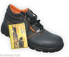 MENS LIGHT WEIGHT BLACK WORK SAFETY BOOTS SHOES STEEL TOE CAP SIZE UK 10 BNIB