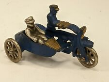 Vintage Hubley Blue Cast Iron Police Cop Motorcycle Side Car Passenger Champion