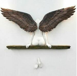 Ikarus Engel Art Skluptur Wanddekoration 48x33 cm Engelsflügel Flügel Deko