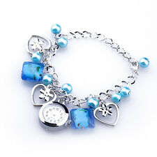 Women Blue Acrylic Beads Quartz Round Dial Bracelet Pendants Wrist Watch