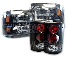 BLACK CLEAR LENS LED HEADLIGHTS & BLACK TAIL LIGHTS FOR FORD EXCURSION 2000-2004