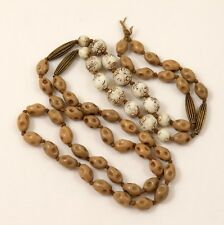 Antique Art Deco Max Neiger Czech Bead Necklace White Uranium Glass Beads TLC