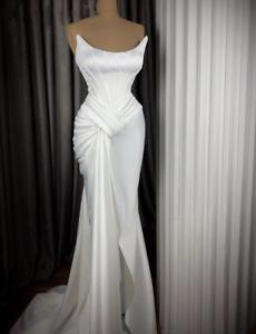 Slinky White Mermaid Beach Wedding Dresses Pleated High Slit Satin Bridal Gowns