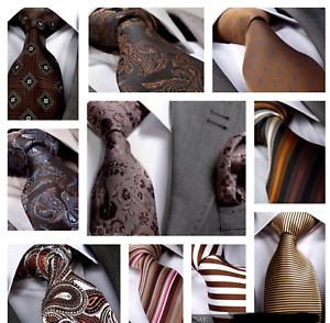 Italian Designer Milano Exclusive BROWN / CHOCOLATE / BRONZE Silk Tie