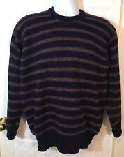 Brooks Brothers Shetland Wool Sweater 42 Medium M Navy Gray Stripes Scotland B4