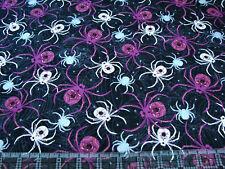 1 Yard Cotton Fabric - Northcott Elegantly Frightful Halloween Spiders Glitter
