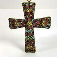 Stained Glass Cross Christmas Ornament Holiday Tree Decoration 2.5x3.5 Inches