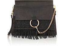 New Chloe Medium Faye Fringe Leather Shoulder Bag Black $2350