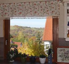 Querbehang Küchengardine+Quasten Landhausgardine Vorhang Blumen 41x150 cm