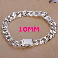 Sterling Silver Gold plated 10MM Men Chain Charm Bracelet Bangle Jewelry Gift
