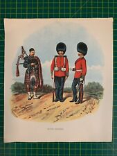 Antique Old Coloured Lithograph Print by Richard Simkin Signed 1890 Scots Guards