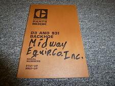 Caterpillar Cat D3 & 931 Backhoe Parts Catalog Manual Book S/N 87U1-Up & 88U1-Up