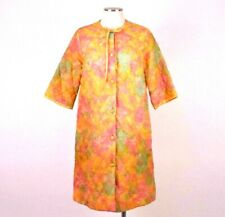 Vintage 60s Miss Elaine Quilted House Coat Trench Jacket Floral Puffer Womens M