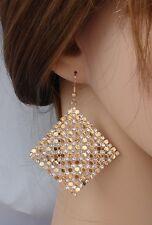 ELEGANTE Orecchini Oro strass cristalli ,rombo,cerimonia Moda donna,idea regalo