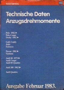 VW & Audi - Reparaturleitfaden -  Technische Daten & Anzugsdrehmomente 02/83