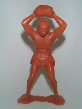 MARX 1963 6 INCH THE FIRST SOLDIER CAVEMAN HURLING ROCK OVERHEAD TO KILL MINT