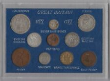 More details for cased 1938 george vi set of 10 coins in good fine or better condition