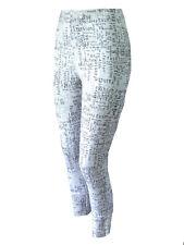 Gr.42/44 46/48 50/52 Leggings Leggins Musterleggings Hose Weiss Schrift-Print