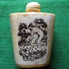 Old Erotic Japanese Scrimshaw Netsuke Bovine Bone Erotic Kama Sutra Snuff Bottle