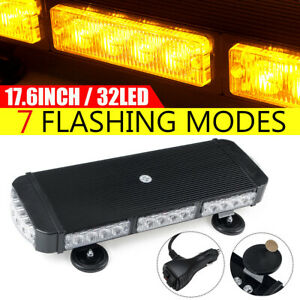 "17.6"" 32 LED Car Emergency Warning Strobe Light Bar Beacon Magnetic Amber 12/24V"