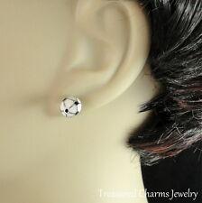 Soccer Ball Earrings - Silver Post Stud Earrings - Sports Jewelry Gift NEW